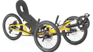HP Scorpion FS20 recumbent trike in yellow frame