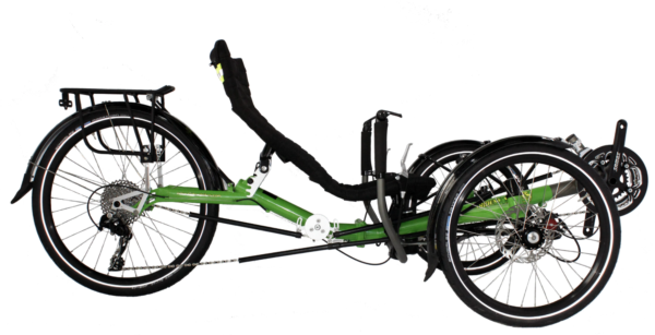 Trident trikes stowaway 2 recumbent trike in green frame color