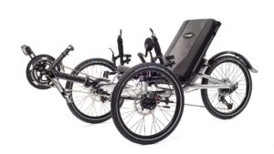 Catrike Villager recumbent trike in silver frame color