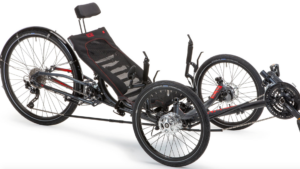 ice sprint x tour in black frame color recumbent trike