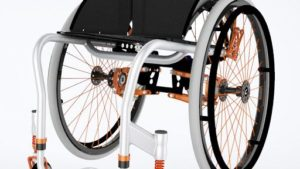 Colours shockblade wheelchair shown in white and orange frame color