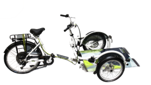 van raam velo plus wheelchair transport bike in white frame color