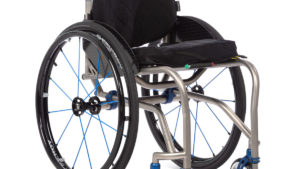 TiLite TR titanium dual tube wheelchair in blue and silver frame
